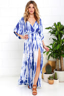 Sunday Morning Blue Tie-Dye Wrap Maxi Dress 1