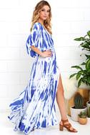Sunday Morning Blue Tie-Dye Wrap Maxi Dress 4