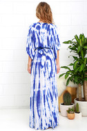 Sunday Morning Blue Tie-Dye Wrap Maxi Dress 5