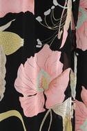 Wondrous Water Lilies Black Floral Print Maxi Dress 6