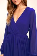 Wondrous Water Lilies Royal Blue Maxi Dress 5
