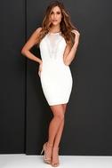 Coquina White Lace Bodycon Dress 2