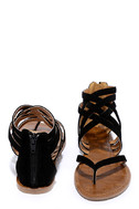 Cairo Queen Black Suede Strappy Thong Sandals 3