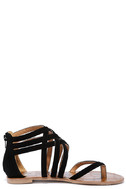 Cairo Queen Black Suede Strappy Thong Sandals 4