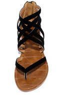 Cairo Queen Black Suede Strappy Thong Sandals 5