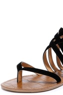 Cairo Queen Black Suede Strappy Thong Sandals 6