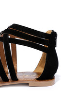 Cairo Queen Black Suede Strappy Thong Sandals 7