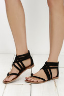 Cairo Queen Black Suede Strappy Thong Sandals 2