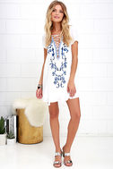 Down in Kokomo Ivory Embroidered Shift Dress 3