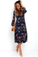 I. Madeline Garden Splendor Navy Blue Floral Print Dress 2
