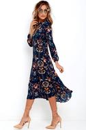 I. Madeline Garden Splendor Navy Blue Floral Print Dress 3