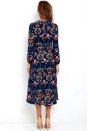 I. Madeline Garden Splendor Navy Blue Floral Print Dress 4