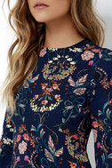 I. Madeline Garden Splendor Navy Blue Floral Print Dress 5