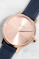 Nixon Kensington Leather Rose Gold and Navy Watch 1