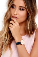 Nixon Kensington Leather Rose Gold and Navy Watch 2