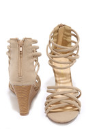 Pure Instinct Nude Suede Caged Wedges 3