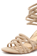 Pure Instinct Nude Suede Caged Wedges 6