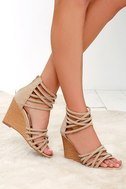 Pure Instinct Nude Suede Caged Wedges 1