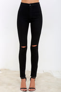 Practice Makes Perfect Black High-Waisted Skinny Jeans 4
