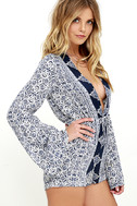Many Moons Ivory and Navy Blue Floral Print Romper 4