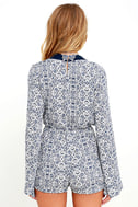 Many Moons Ivory and Navy Blue Floral Print Romper 5