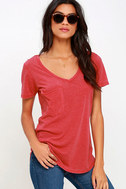 Z Supply Pleasant Surprise Washed Red Tee 1