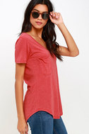 Z Supply Pleasant Surprise Washed Red Tee 3