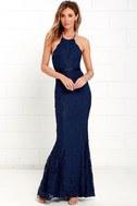 Zenith Navy Blue Lace Maxi Dress 3