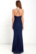 Zenith Navy Blue Lace Maxi Dress 5
