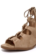 Talk That Talk Natural Suede Lace-Up Sandals 6