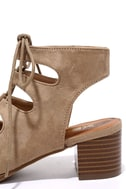 Talk That Talk Natural Suede Lace-Up Sandals 7