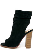 Only the Latest Black Suede Peep-Toe Booties 2