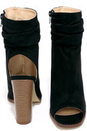 Only the Latest Black Suede Peep-Toe Booties 3