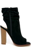 Only the Latest Black Suede Peep-Toe Booties 4