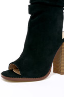 Only the Latest Black Suede Peep-Toe Booties 6