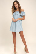 Standout Style Light Blue Chambray Off-the-Shoulder Dress 2
