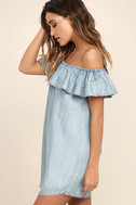 Standout Style Light Blue Chambray Off-the-Shoulder Dress 3