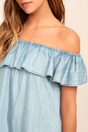 Standout Style Light Blue Chambray Off-the-Shoulder Dress 5