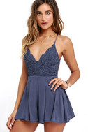 Star Spangled Indigo Backless Lace Romper 1