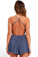 Star Spangled Indigo Backless Lace Romper 4
