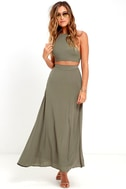 Walking on Heir Olive Green Two-Piece Dress 1