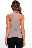 Alive and Kicking Taupe Sleeveless Turtleneck Top 4