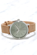Nixon Kensington Leather Saddle and Sage Watch 3