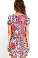 Sangria Coral Pink Tile Print Shift Dress 4