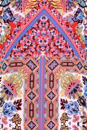 Sangria Coral Pink Tile Print Shift Dress 6