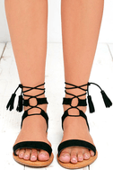 Street Fair Black Suede Lace-Up Sandals 2