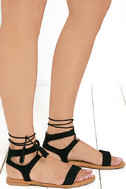 Street Fair Black Suede Lace-Up Sandals 3