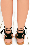 Street Fair Black Suede Lace-Up Sandals 4
