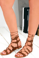 Trail Ways Tan Suede Flat Lace-Up Sandals 1