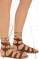 Trail Ways Tan Suede Flat Lace-Up Sandals 3